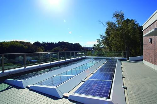 ソーラーパネルを設置し、太陽光発電を行うことで、園内の電力の一部をまかないます。