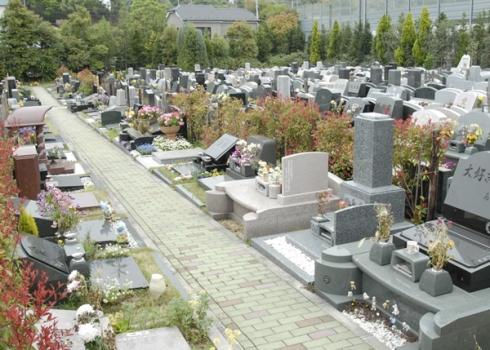 墓前の参道には花壇が設けられています。