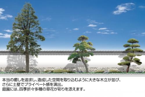 大きな木がプライベートを更に演出。