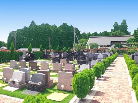 緑が溢れ、明るい雰囲気の芝生墓所