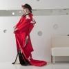 真紅の縮緬に鶴のみを施した印象的な色打掛です。掛下との組み合わせで印象がガラリと変わります。  ※こちらの衣裳はプラン料金内の衣裳と異なるため、ご利用の際には差額をご負担いただきます。